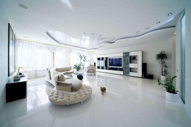 Дворівневі натяжні стелі для залу (47 фото): матеріали, форма, колір