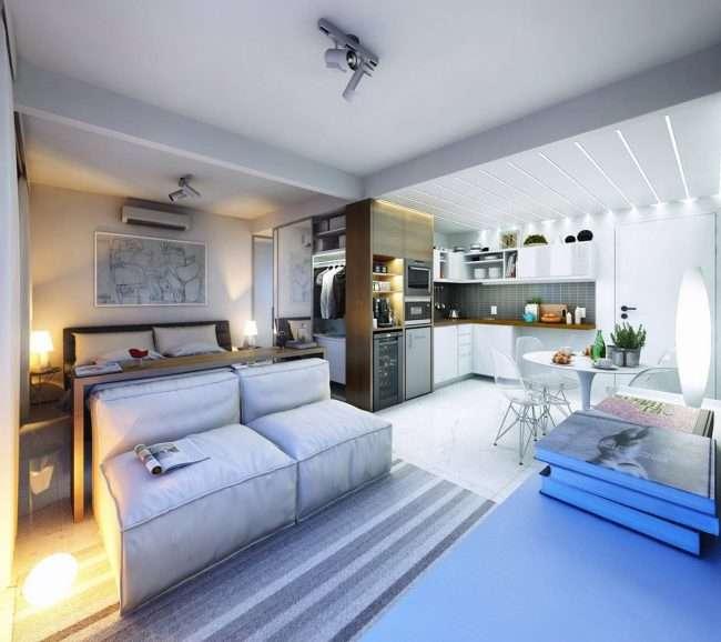Дизайн однокімнатної квартири: як оптимально використовувати кожен метр і 80 кращих сучасних інтерєрів
