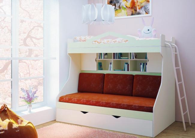 Двохярусне ліжко з розкладним диваном: 80+ обраних рішень для оптимізації простору