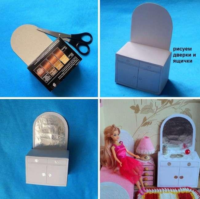 Мебель для кукол своими руками. Пошаговое руководство: делаем туалетный столик для куклы из картонной коробки. Шаг 5-8