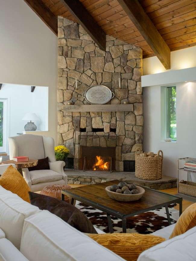 Кутові каміни: 70 гарячих ідей для класичних і сучасних віталень (фото)